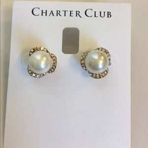 Charter Club Gold & Pearl stud earrings